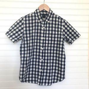 GAP Gingham  Blue White Short Sleeve Shirt Large